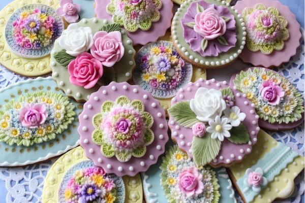 Galletas decoradas con dulces flores