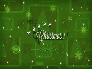 Postal: ¡Feliz Navidad! con renos, estrellas y abetos