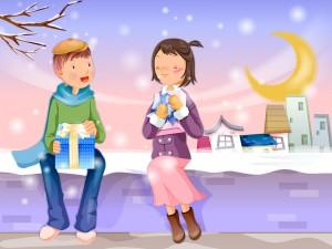 Enamorados entregándose unos regalos por Navidad