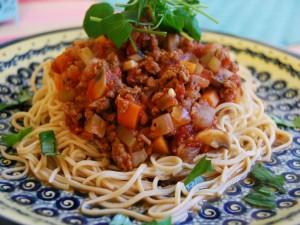 Postal: Espagueti con salsa bolognesa