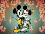 Mickey y Minnie en una moto