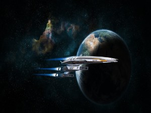 Postal: Nave espacial Normandy SR2 junto al planeta Tierra