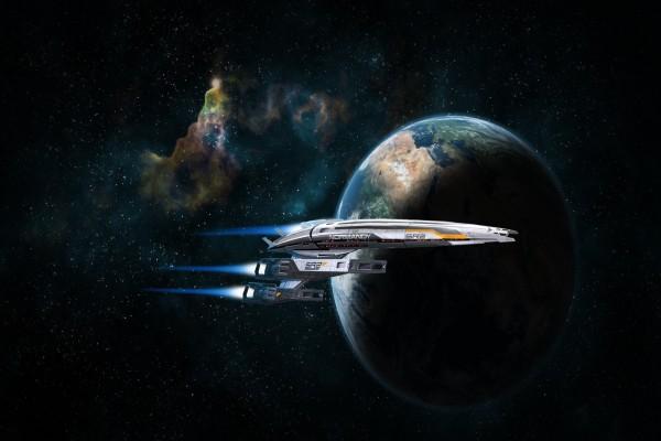 Nave espacial Normandy SR2 junto al planeta Tierra