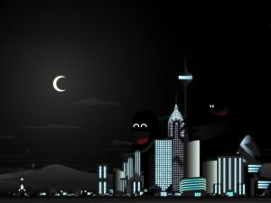 Postal: Dos monstruos en la oscura ciudad