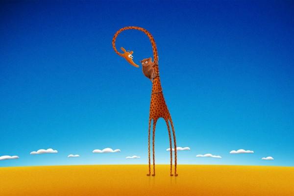 Monito sobre una jirafa