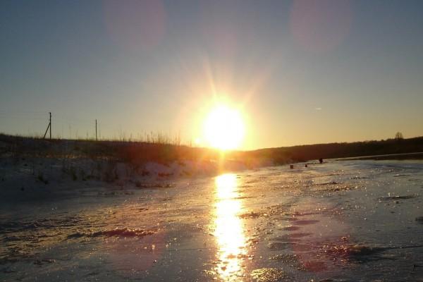 El sol reflejado en el hielo