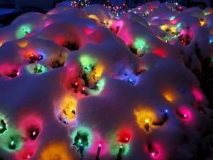 Luces de Navidad bajo la nieve