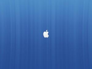 Postal: Logo de Apple en fondo azul