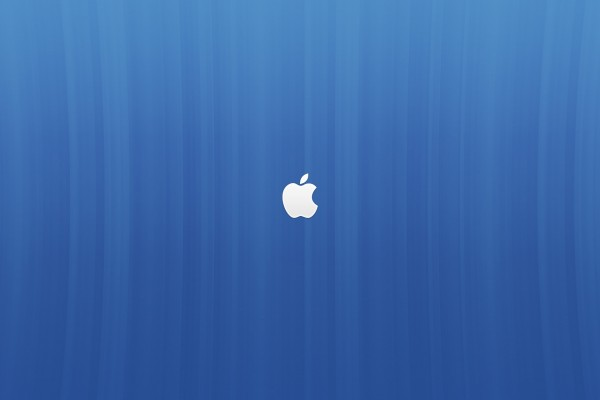 Logo de Apple en fondo azul