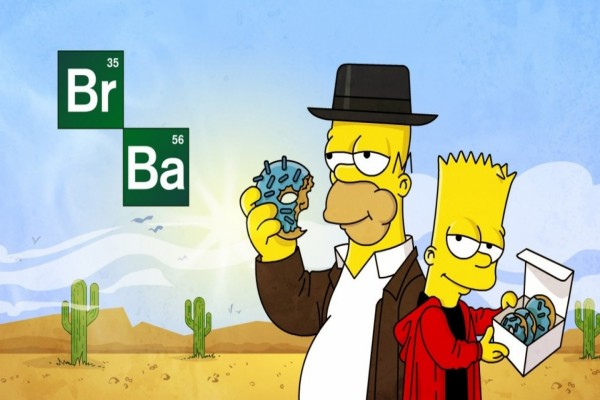 "Homer y Bart Simpson parodiando la serie ""Breaking Bad"""