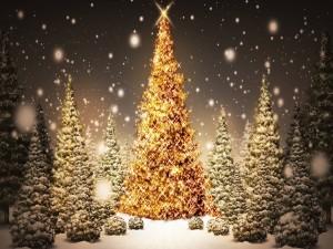 Nieva sobre los árboles de Navidad iluminados