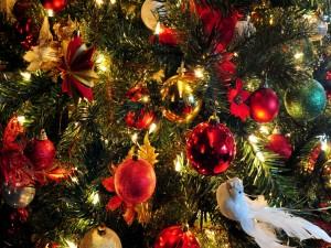 Una paloma blanca colgada del Árbol de Navidad
