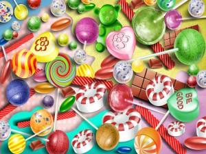 Postal: Imagen con diversos caramelos