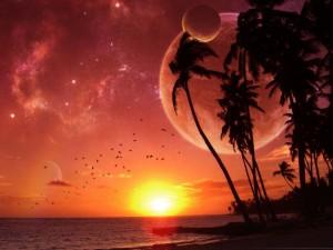 El sol y varios planetas vistos desde la playa