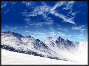 Postal: Hielo en las montañas