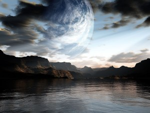 Gran planeta visto desde el lago
