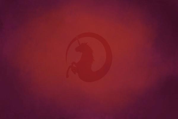 Unicornio en un fondo rojo