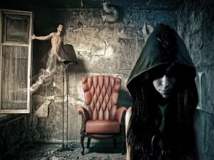 Bruja invocando al espíritu de un joven