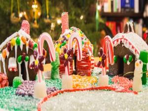 Postal: Casitas de jengibre dulces para Navidad