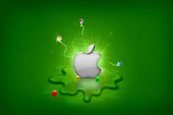 Apple en un fondo verde