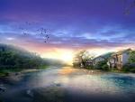 Casas junto a un bonito río