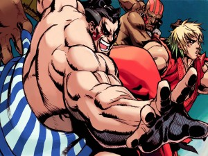 "Tres personajes de ""Street Fighter"""