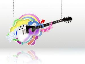 Postal: Guitarra sobre un arco iris