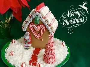 Postal: Casa de jengibre y ¡Feliz Navidad!