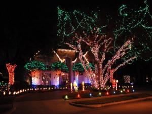 Árbol y casa con luces navideñas