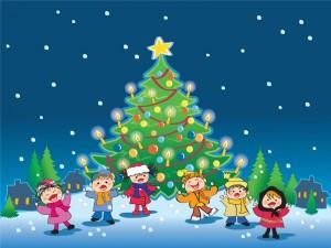 Postal: Niños cantando villancicos junto al árbol de Navidad