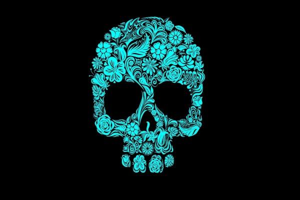 Calavera azul para el Día de Muertos
