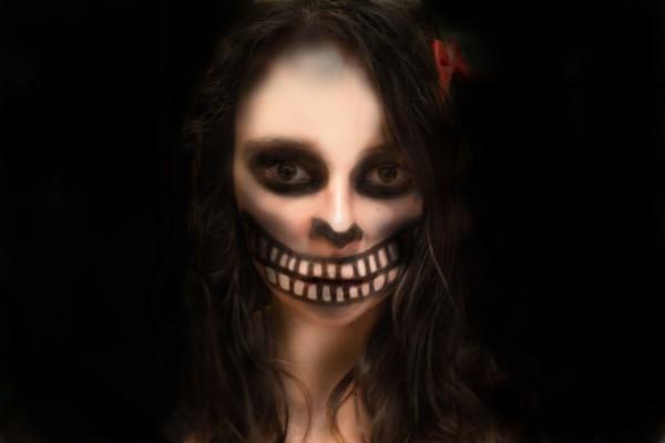Cara maquillada en Halloween