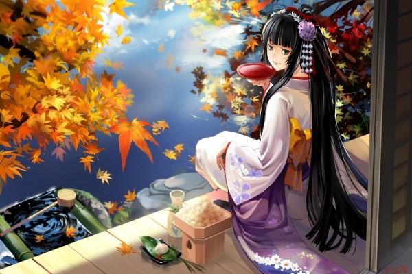 Muchacha anime tomando té junto al agua en otoño