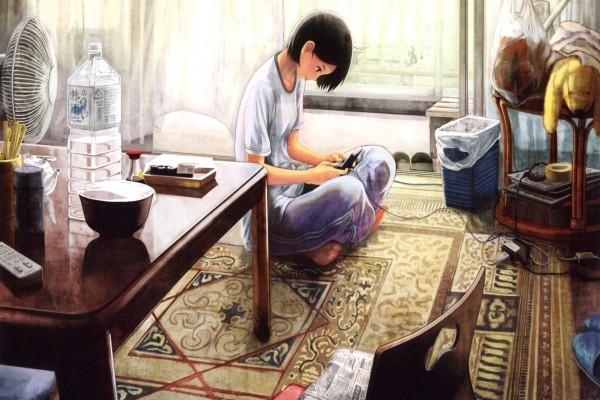 Una joven japonesa jugando con una videoconsola