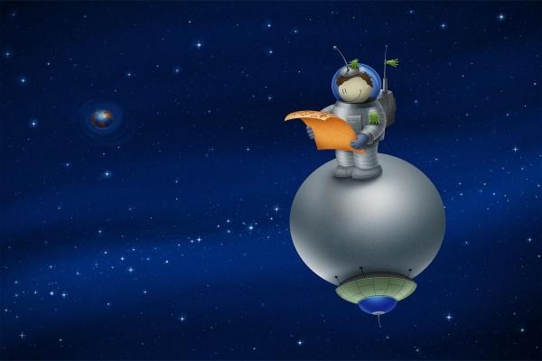 Un niño astronauta lejos de la Tierra