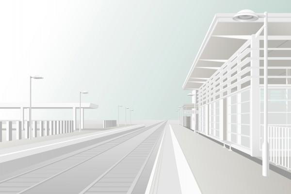 Estación de tren blanca
