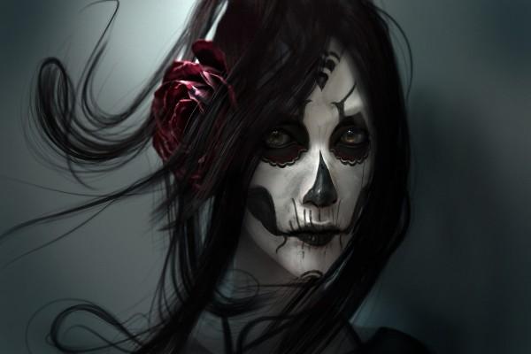 """Mujer morena maquillada en el """"Día de Muertos"""""""