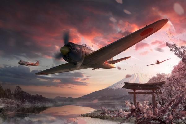 Aviones de combate japoneses cerca del monte Fuji