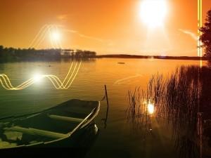 Postal: Luces, líneas y flechas en un lago