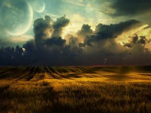 Postal: Planetas vistos desde el campo de trigo