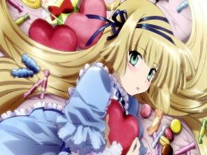 Postal: Un dulce muchacha anime enamorada