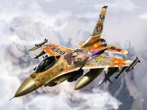 Avión de combate japonés con un dibujo manga