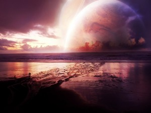 Postal: Admirando los planetas desde la playa