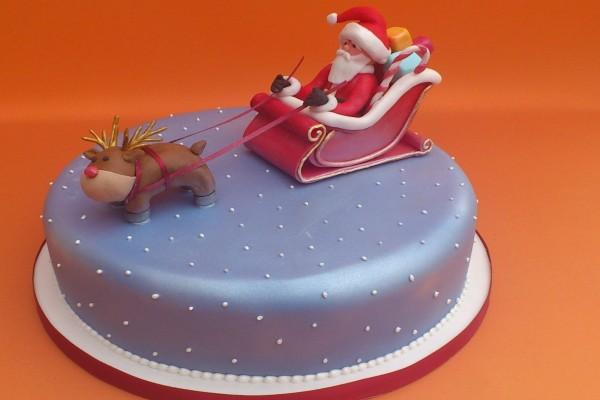 Tarta con Santa Claus en el trineo
