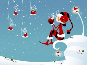 Postal: Duendecillo de Navidad tomando una bebida amorosa