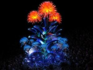 Flores luminosas en la noche