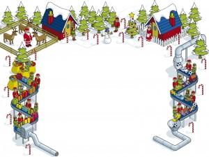 Postal: Duendes preparando los regalos que repartirá Santa Claus en Navidad