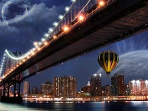 Un globo junto a un puente