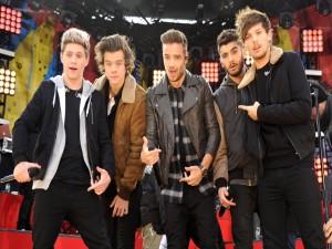 """Los chicos de """"One Direction"""" posando para una foto sobre el escenario"""