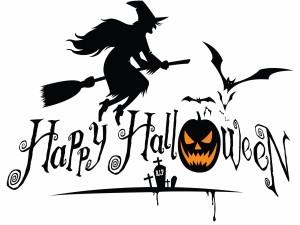 "Bruja, calabaza, murciélagos y ""Feliz Halloween"""